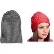Tahiro Grey Beanie And Red Flower Woollen Cap - Pack Of 2