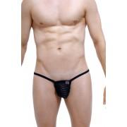 Petit-Q Biez Transparent Stripe Cut Out G String Underwear Black PQ170705
