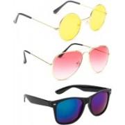 Elligator Round, Aviator, Wayfarer Sunglasses(Yellow, Pink, Blue)