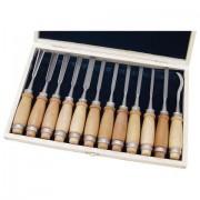 Fafaragó készlet, 12db, fanyelű, fa dobozban, crv, HRC 58-60 (8812405)
