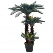 vidaXL Plantă artificială palmier cycas cu ghiveci, verde, 125 cm