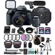 33rd Street Canon EOS Rebel t7i 24,2 MP cámara réflex digital con lente Canon EF-s 18 - 55 mm f/4 - 5.6 IS STM Lens + 32 GB & 16 GB tarjetas de memoria + LED Luz de vídeo + Escopeta Micrófono de condensador + Premium Accessory Bundle
