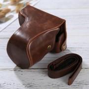 Full Body Camara Caja De Cuero De La PU Bolsa Con Correa Para Panasonic Lumix DMC - Fotografia Accesorios (café)