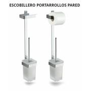 ESCOBILLERO PORTARROLLO DE PARED BELTRAN - Material: Acero Inox. Atornillado