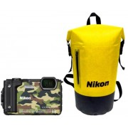 "Aparat Foto Digital Nikon COOLPIX W300 Holiday Kit, 16 MP, 1/2.3"" CMOS, 5x Zoom optic, Filmare 4K, Waterproof, Shockproof, GPS, Bluetooth, WiFi (Camuflaj)"