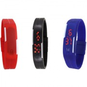 Grandson Red Black And Blue Digital Led Band Watches For Kids