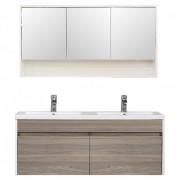 Primo 120 komplett fürdőszoba bútor tükörfényes fehér-rauna szil színben