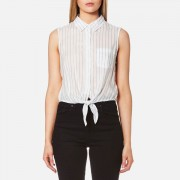 Guess Women's Clara Shirt - Dizzy Stripes - L - White