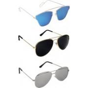 Pogo Fashion Club Retro Square, Aviator, Cat-eye Sunglasses(Blue, Silver, Golden)