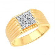Vighnaharta Glamour Nine Stone CZ Gold and Rhodium Plated Alloy Gents Ring for Men & Boys