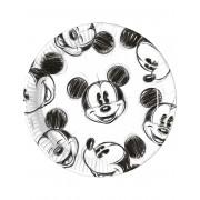 25 Pratos de cartão Mickey retro preto e branco