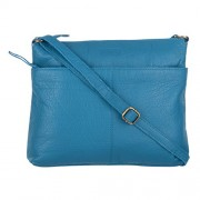 Le Craf Kitty Blue Genuine Leather Stylish Sling Cross-Body Bag for Womens and Girls