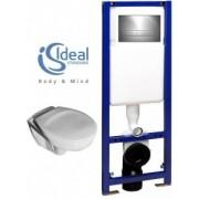 Pachet WC suspendat Ideal Standard model Eurovit cu capac, rezervor cu cadru si clapeta crom