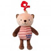 Baby Mix bézs-barna macis babahordozóra vagy babakocsira szerelhető plüssjáték