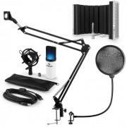 MIC-900WH-LED USB Conjunto Microfone V5 Mic Condensador Filtro Pop Escudo Suporte Branco