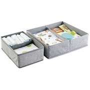 mDesign Fabric Baby Nursery Closet Organizer for Clothing Towels Diapers Lotion Wipes - Set of 2 4 Compartments Gray