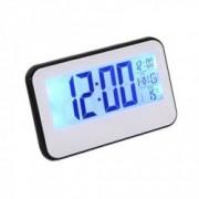 Ceas Digital 2618 cu display LCD si control vocal functie termometru Alb-Negru