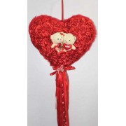 Red Satan Roses Plush Heart with Cute Love Couple Teddy Bears