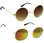 Derry Combo Of Bronze-Gold And Orange Mirror Sunglasses