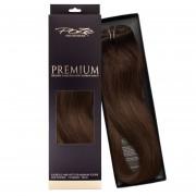 Poze Premium Hårträns Hårförlängning - 110g Chocolate Brown 4B - 50cm