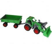 Tractor Wader cu remorca si roti de cauciuc Farmer verde