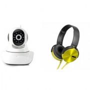 Zemini Wifi CCTV Camera and Extra Bass XB450 Headset for SAMSUNG GALAXY CORE PRIME VE(Wifi CCTV Camera with night vision  Extra Bass XB450 Headset )