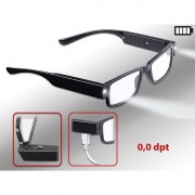 infactory Modische Brille mit LED-Leselicht und Akku, ohne Sehstärke