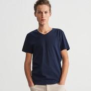 Reserved - T-shirt z dekoltem w serek - Granatowy