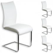 IDIMEX Lot de 4 chaises ALADINO, en synthétique blanc