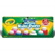 Crayola i lavabilissimi tempere lavabili in barattolini richiudibili, pronte all'uso, per scuola e tempo libero, colori assortiti, 10 pezzi, 54-1205