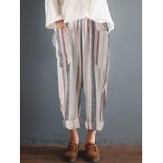 Meco Women Cotton Retro Elastic High Waist Harem Pants
