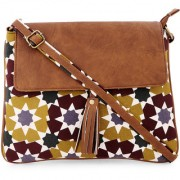 Vivinkaa Multi diamond printed Canvas tassle Sling Bag for Women