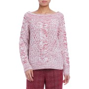 【72%OFF】LOGAN メランジニット 長袖プルオーバー ブリック s ファッション > レディースウエア~~その他トップス
