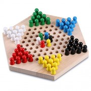 Sumnacon Wood Chinese Checkers Game with Wooden Marbles - Cultivate Thinking Ability