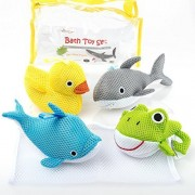 Bath Toys - Soft & Educational Bath Toy for Baby & Toddlers - Use In or Out of Tub - BONUS Mesh Bath Toy Storage Bag with Suctions for Easy Drying- No Mold Bath Toy by Little Additions