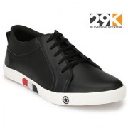 29K Men's Black Synthetic Leather Lace Up Casual Shoes