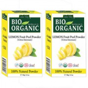 Indus Valley Bio Organic Face Cleanser Natural Lemon Fruit Peel Powder for Fairness-Set of 2(Combo Set)
