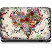 VI Collections Flowers Heart Printed Vinyl Laptop Decal 15.5