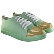 Blinder Women's Green Golden Lace-Up Casual Sneakers Shoes
