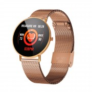 F25 Color Large Round Touch Screen Heart Rate Monitoring Waterproof Smart Watch [Metal Strap] - Rose Gold
