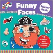 Carte cu abtibilduri Funny Faces Galt, 3 ani+