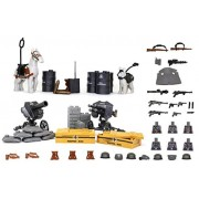 Arundel Services EU Mini Figures X6 Army Ww2 War Pack with Military Weapons and Accessories Building Bricks Guns Soldier Blocks Lego Compatible Minifigures