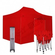ray bot Gazebo pieghevole 3x4,5 rosso Exa 45mm alluminio con laterali. Gazebo rapido e automatico.