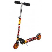 Toyhouse Two Wheeled Metal Folding Skate Scooter with Disco Wheels and Height Adjustable Handlebar, Handlebar Bell and Hand Brake