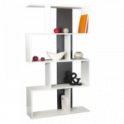 BOX Étagère bibliothèque ouverte couleur blanc et gris