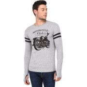 TRENDS TOWER Full Sleeve Round Neck Thumb Ring Mens T-Shirt Grey-Melange Color Motor Cycle Club Graphics Print