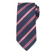 Sötétkék nyakkendő piros csíkos mintával 9801