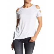 Sweet Romeo Cold Shoulder Cage Sleeve Front Tie Tee OPTIC WHITE