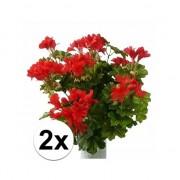 Bellatio flowers & plants 2 stuks Rode geranium kunstplant 40 cm