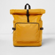 River Island Mens Yellow roll top clip backpack (One Size)